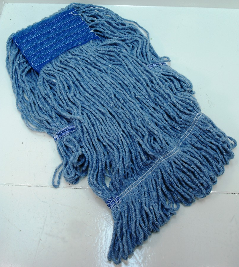 "BLUE COTTON MOP HEAD WITH FANTAIL LOOP & 5"" MESH HEADBAND"